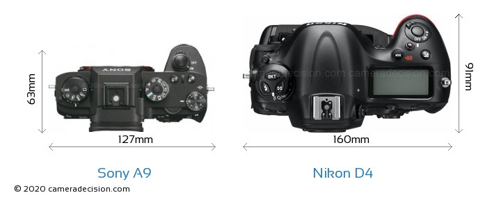 Sony A9 vs Nikon D4 Camera Size Comparison - Top View