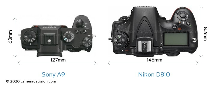 Sony A9 vs Nikon D810 Camera Size Comparison - Top View