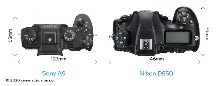 Sony A9 vs Nikon D850 Camera Size Comparison - Top View