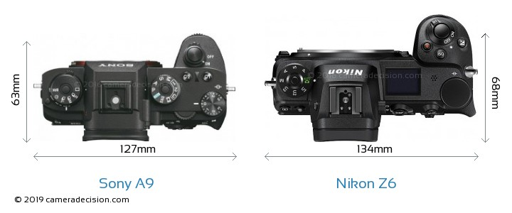 Sony A9 vs Nikon Z6 Camera Size Comparison - Top View