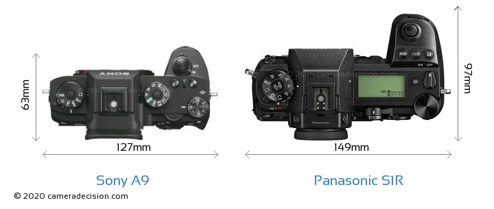 Sony A9 vs Panasonic S1R Camera Size Comparison - Top View