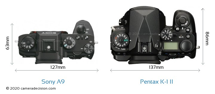 Sony A9 vs Pentax K-1 II Camera Size Comparison - Top View
