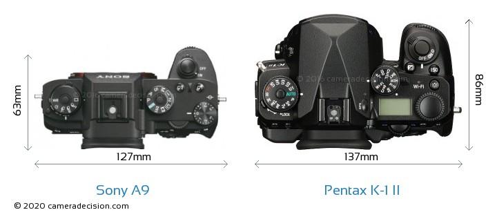Sony A9 vs Pentax K-1 II Camera Size Comparison - Top View