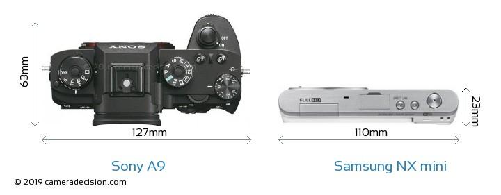 Sony A9 vs Samsung NX mini Camera Size Comparison - Top View