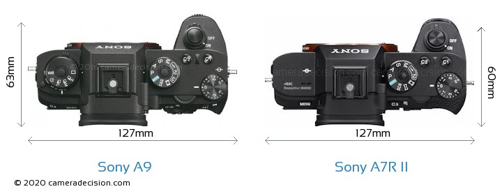 Sony A9 vs Sony A7R II Camera Size Comparison - Top View