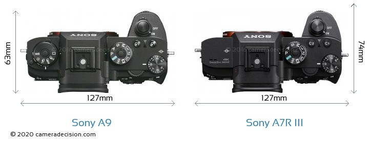 Sony A9 vs Sony A7R III Camera Size Comparison - Top View