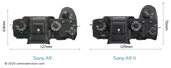 Sony A9 vs Sony A9 II Camera Size Comparison - Top View
