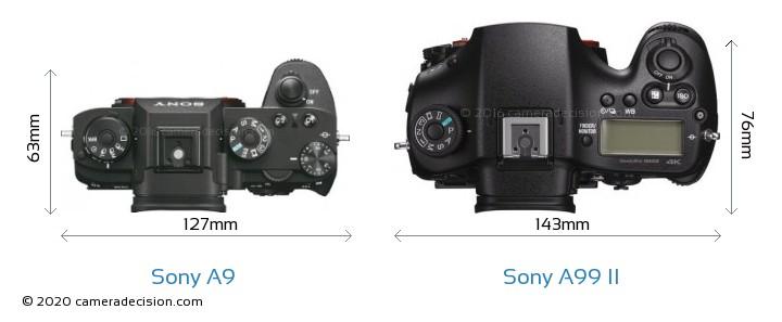 Sony A9 vs Sony A99 II Camera Size Comparison - Top View