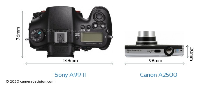 Sony A99 II vs Canon A2500 Camera Size Comparison - Top View