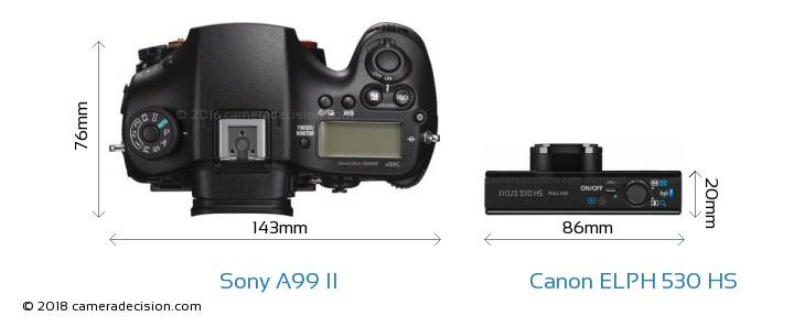 Sony A99 II vs Canon ELPH 530 HS Camera Size Comparison - Top View