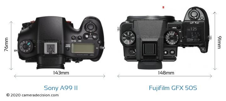 Sony A99 II vs Fujifilm GFX 50S Camera Size Comparison - Top View