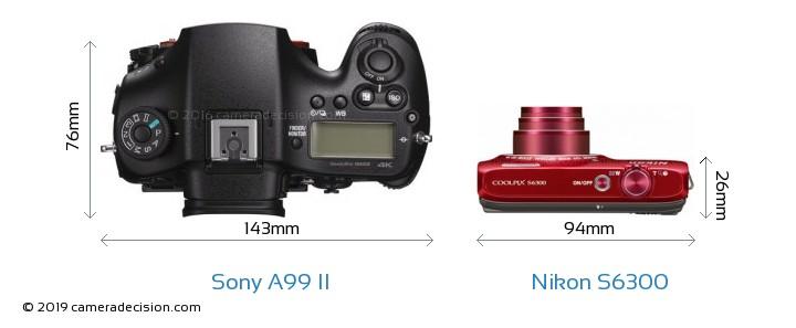 Sony A99 II vs Nikon S6300 Camera Size Comparison - Top View