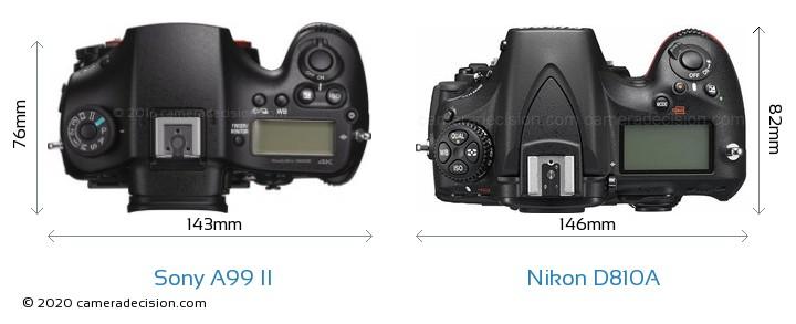 Sony A99 II vs Nikon D810A Camera Size Comparison - Top View