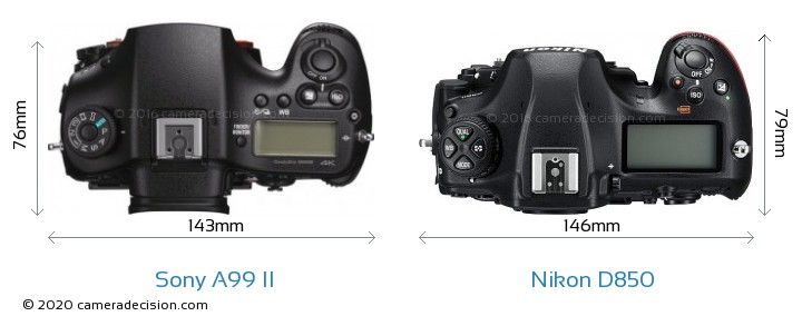 Sony A99 II vs Nikon D850 Camera Size Comparison - Top View