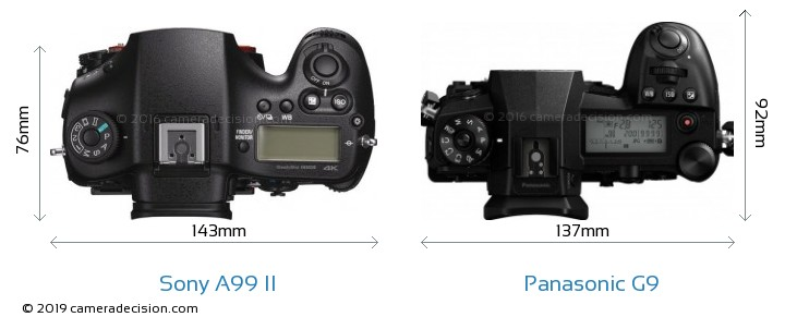 Sony A99 II vs Panasonic G9 Camera Size Comparison - Top View