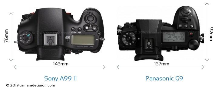 Sony A99 II vs Panasonic G9 Camera Size Comparison - Top View