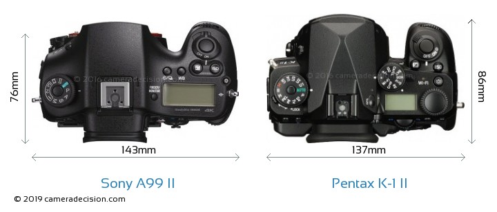 Sony A99 II vs Pentax K-1 II Camera Size Comparison - Top View