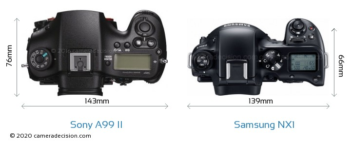 Sony A99 II vs Samsung NX1 Camera Size Comparison - Top View