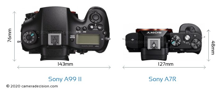 Sony A99 II vs Sony A7R Camera Size Comparison - Top View