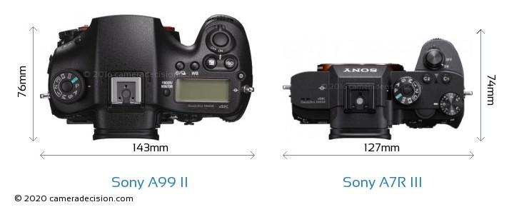 Sony A99 II vs Sony A7R III Camera Size Comparison - Top View