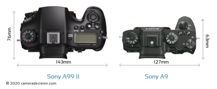 Sony A99 II vs Sony A9 Camera Size Comparison - Top View