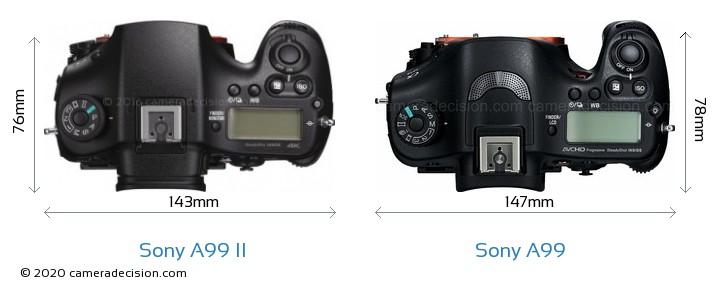 Sony A99 II vs Sony A99 Camera Size Comparison - Top View