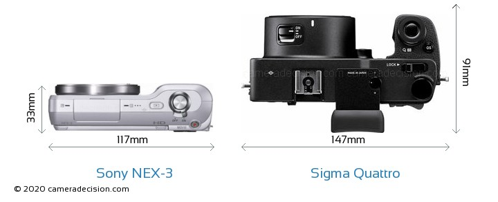 Sony NEX-3 vs Sigma Quattro Camera Size Comparison - Top View