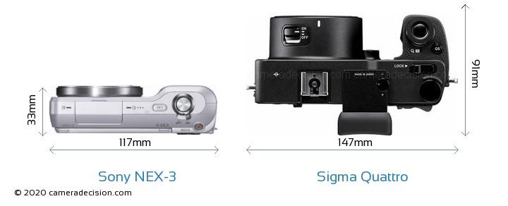 Sony NEX-3 vs Sigma Quattro Camera Size Comparison - Top View