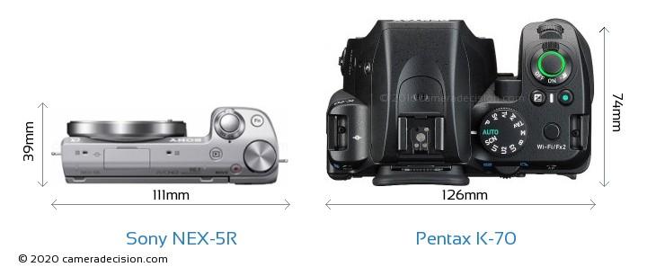Sony NEX-5R vs Pentax K-70 Camera Size Comparison - Top View