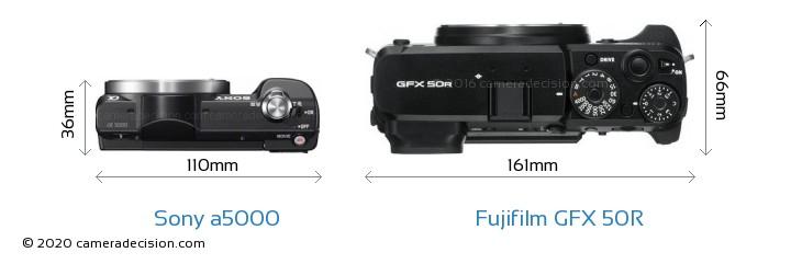 Sony a5000 vs Fujifilm GFX 50R Camera Size Comparison - Top View