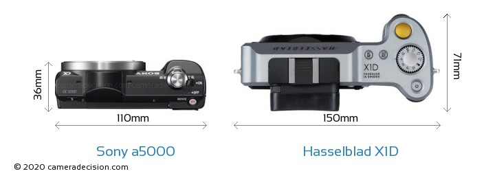 Sony a5000 vs Hasselblad X1D Camera Size Comparison - Top View