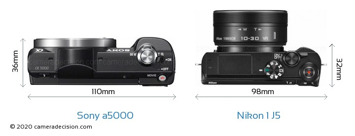 Sony a5000 vs Nikon 1 J5 Camera Size Comparison - Top View