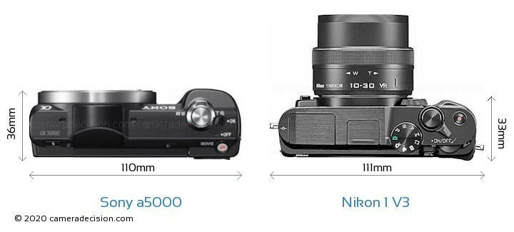 Sony a5000 vs Nikon 1 V3 Camera Size Comparison - Top View
