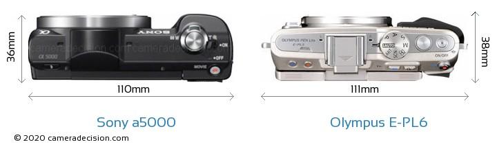 Sony a5000 vs Olympus E-PL6 Camera Size Comparison - Top View