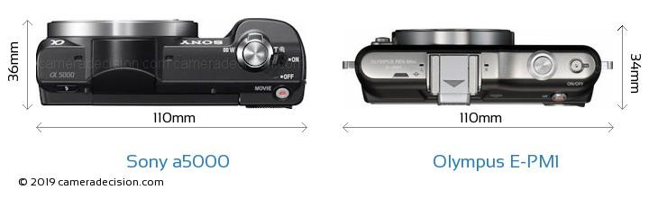Sony a5000 vs Olympus E-PM1 Camera Size Comparison - Top View