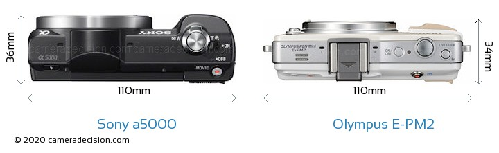 Sony a5000 vs Olympus E-PM2 Camera Size Comparison - Top View