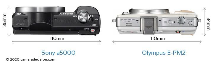 Sony a5000 vs Olympus E-PM2 Camera Size Comparison - Top View