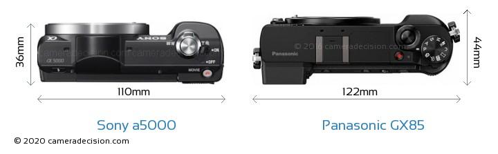 Sony a5000 vs Panasonic GX85 Camera Size Comparison - Top View