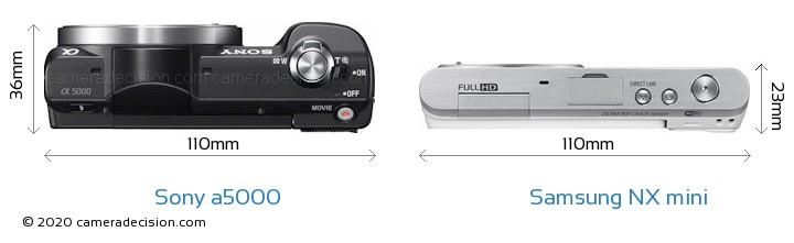 Sony a5000 vs Samsung NX mini Camera Size Comparison - Top View