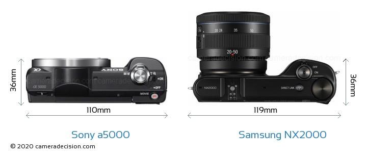 Sony a5000 vs Samsung NX2000 Camera Size Comparison - Top View
