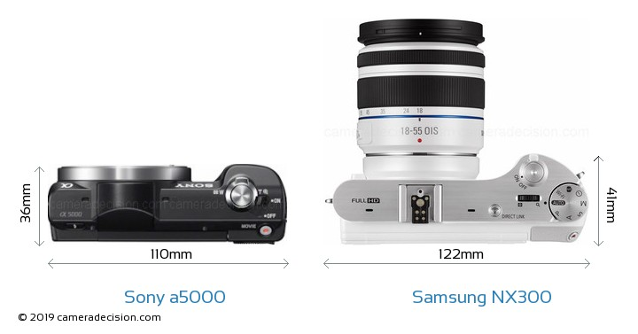 Sony a5000 vs Samsung NX300 Camera Size Comparison - Top View