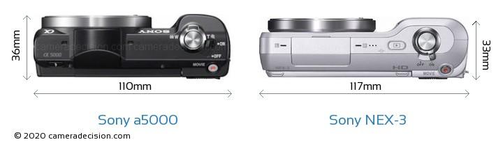Sony a5000 vs Sony NEX-3 Camera Size Comparison - Top View