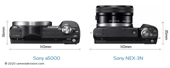 Sony a5000 vs Sony NEX-3N Camera Size Comparison - Top View