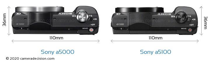 Sony a5000 vs Sony a5100 Camera Size Comparison - Top View