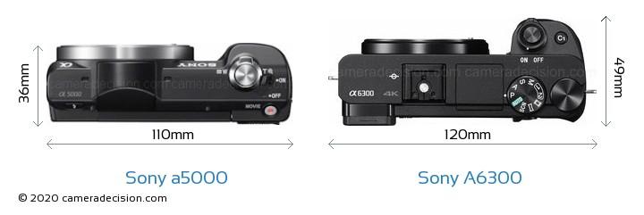 Sony a5000 vs Sony A6300 Camera Size Comparison - Top View