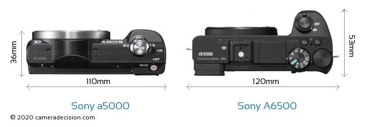 Sony a5000 vs Sony A6500 Camera Size Comparison - Top View