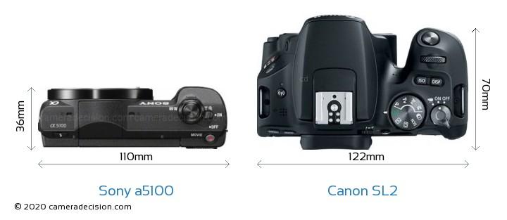 Sony a5100 vs Canon SL2 Camera Size Comparison - Top View