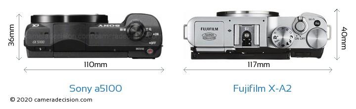 Sony a5100 vs Fujifilm X-A2 Camera Size Comparison - Top View