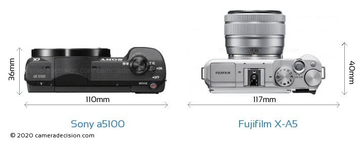 Sony a5100 vs Fujifilm X-A5 Camera Size Comparison - Top View
