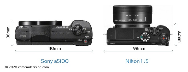 Sony a5100 vs Nikon 1 J5 Camera Size Comparison - Top View